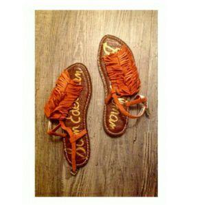 Sam Edelman Orange Boho Fringe Sandals for Sale in Spokane, WA