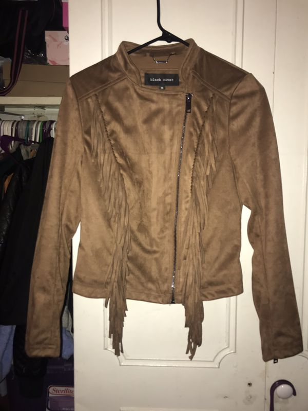 Tan Suede Black Rivet Fringe Jacket
