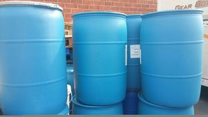 55 gallon heavy duty plastic drums food grade no chemical $18 each for Sale in Rancho Cucamonga, CA