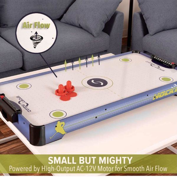 *NEW* Sport Squad HX40 40 inch Table Top Air Hockey Table for Kids and Adults - Electric Motor Fan - Includes 2 Pushers and 2 Air Hockey Pucks - Grea