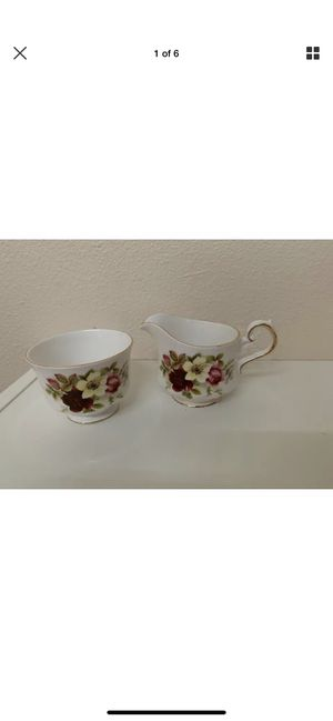 Queen Anne Bone China England Creamer & Sugar Dish Rose Print Made In ENGLAND for Sale in Hillsboro, OR