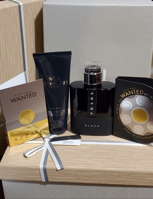 Prada black eau de perfume for men new never used with a free samples and after shave in a gift box