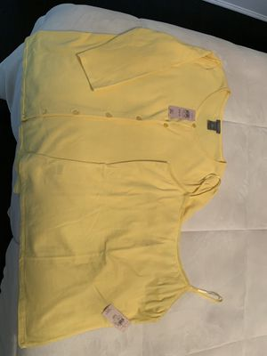 Ann Taylor yellow size medium petite cardigan with matching camisole for Sale in Rockville Centre, NY