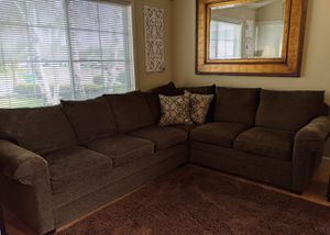 All Three !!! Bassett Sectional Couch, Leather Ottoman & Leather Recliner for Sale in Turlock, CA