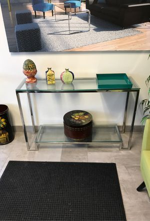 "Console table stainless steel with 2 glass shelfs 47""wide for Sale in IL, US"