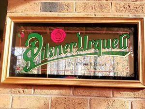 RARE Pilsner Urquell Antique Bar Mirror w/wooden frame for Sale in Fairfax, VA