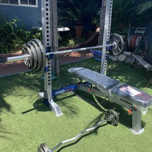 New Bench Press Squat Rack Weight Set Olympic Bar Curl Bar for Sale in Hacienda Heights, CA