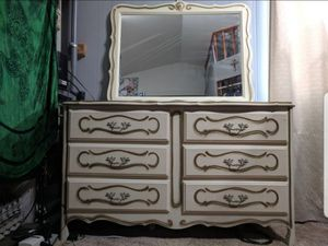 Vintage French Provincial 5 Piece Bedroom Set - Dresser, Mirror, Chest of Drawers, Desk, Nightstand for Sale in Bremerton, WA