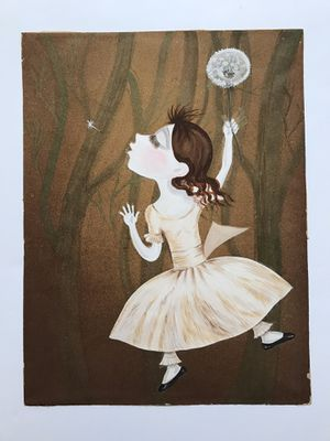 Vintage | Acrylic Painting Of Little Girl With Dandelion for Sale in Seattle, WA