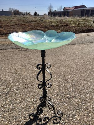 Bird Bath or Feeder for your Spring Garden- Aqua Greens,Blues Ornate Glass Dish 2' H or choose a stand! for Sale in Bayfield, CO