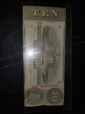 1863 Confederate $10 Richmond 2nd series for Sale in Melbourne, FL