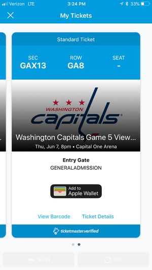 Two tickets to the capitals viewing tonight for Sale in Crofton, MD