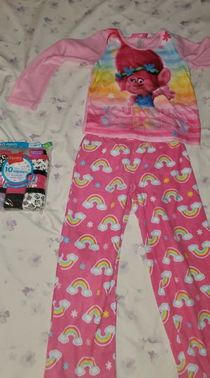 Girls Hanes underwear size 6 and Trolls pajamas in small for Sale in Brooklyn, NY