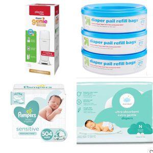 Playtex Diaper Genie Complete + Up&Up Refills (3pack) + Pamper Sensitive Wipes + Cloud Island Newborn Diapers for Sale in Pemberton, NJ