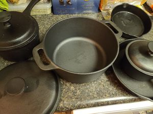 5 piece new cast iron pot and pan for Sale in Laurel, MD