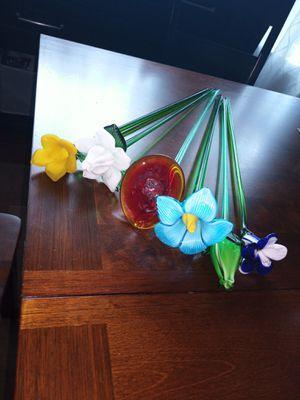 Italian Glass Blown Flowers Long Stem for Sale in Houston, TX