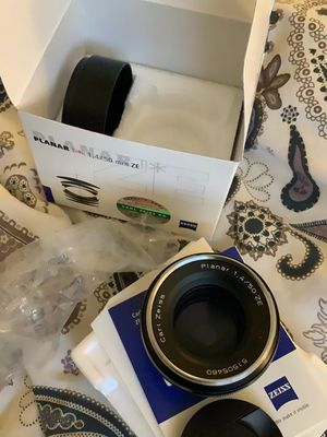 Canon ef Mount Zeiss planar t 50mm f1.4 for sale or trade for other canon lenses or m43 or video gear for Sale in Baltimore, MD