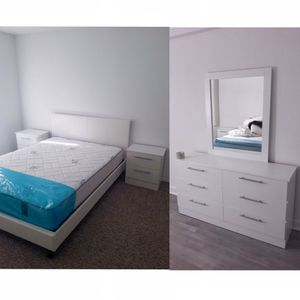 New queen bed frame mirror dresser and nightstands mattress is not included for Sale in Pompano Beach, FL