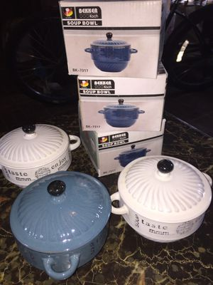 NEW Ceramic heat resistant pots for individual dish: soup or meat for Sale in MAYFIELD VILLAGE, OH