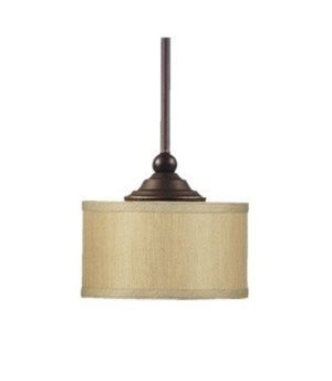 EUC Home Decorators Collection Pendant Fixture Bronze Finish Fabric Shade Denholm Collection for Sale in Lorain, OH