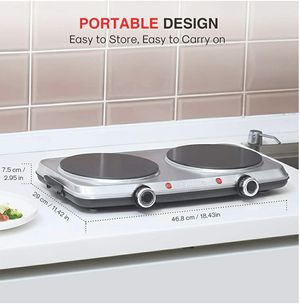 Hot Plates for Cooking, 1800W Electric Double Burner with Handles, 6 Power Levels Stainless Steel Hot Plate for Kitchen Camping RV (Ceramic) for Sale in Garden Grove, CA
