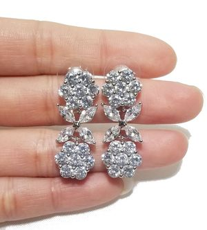 Silver cz diamond flower dangle earrings for Sale in Austin, TX