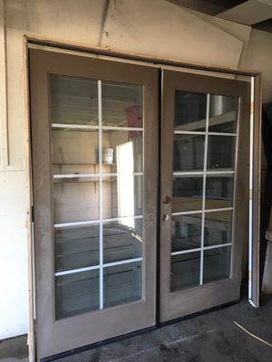 French fiber glass tempered glass entry doors yes still available for Sale in Buena Park, CA