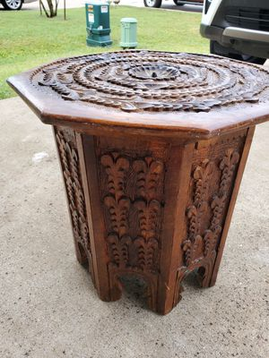Wood Antique Table Round Handcrafted 16 inches Excellent Condition for Sale in Austin, TX