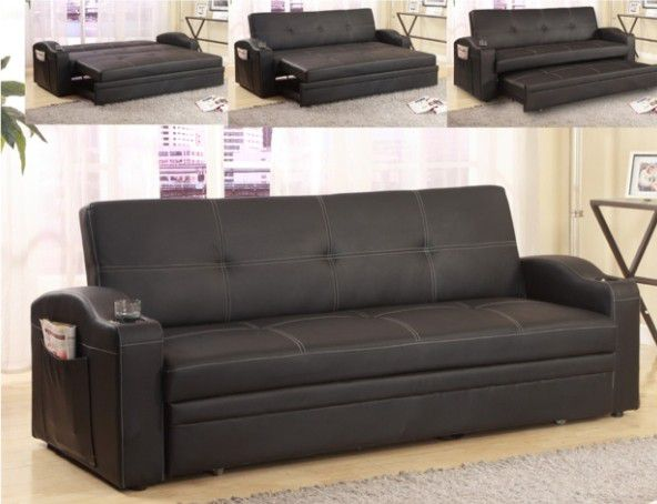 Sofa Futon w/pull out Bed & Cupholders(faux leather)