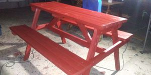 Brand new 5 ft traditional red picnic table for Sale in Bakersfield, CA