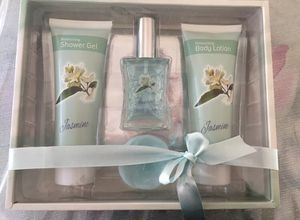 Jasmine 4-Piece Spa Kit Including: Shower Gel, Body Lotion, Perfume & Candle for Sale in Hammonton, NJ
