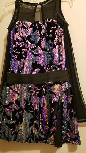 Costume, womans flapper black dress with purple sequins for Sale in Buena Park, CA