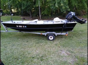 "1997 landau 14"" Jon boat with 25hp Evinrude motor and trailer for Sale in Sanford, NC"