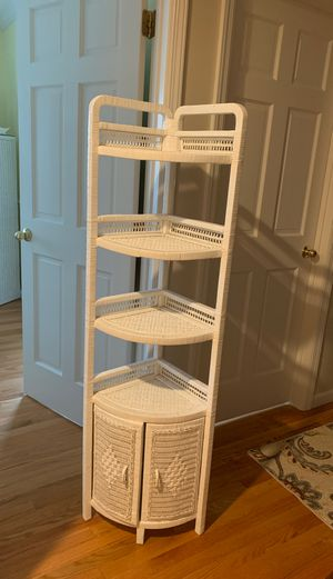 White wicker shelf with small cabinet for Sale in Stamford, CT