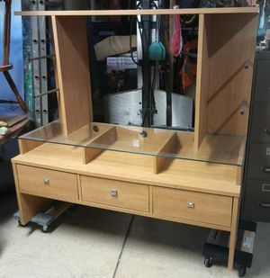 Made of fine long lasting wood and glass shelving cabinete tv for Sale in Calexico, CA