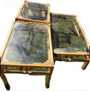 Boho Rattan Vintage Coffee table set with 2 side tables for Sale in Harrisburg, PA