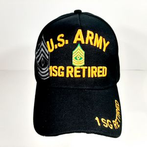 US Army 1SG Retired Men's Ball Cap Hat Black Embroidered Acrylic H5 for Sale in Independence, KS