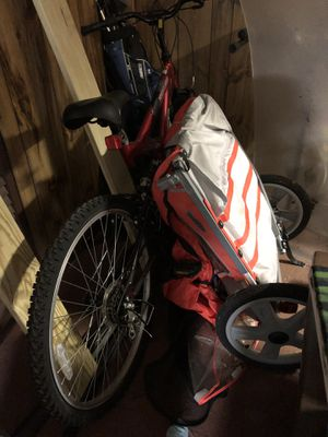 Mountain bike and child trailer for Sale in Ansonia, CT