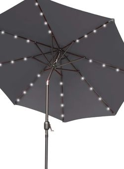 Garden 9 ft Patio Umbrella with Solar Lights Outdoor 32 LED Table Umbrella 8 Ribs with Push Button Tilt and Crank for Market, Deck, Backyard and Pool for Sale in Ontario,  CA