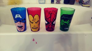 10$ each Glass collectible cups Captain America, iron man, spider-man and hulk for Sale in Stockton, CA