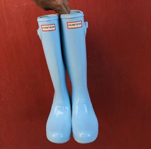 Hunter tall gloss baby blue boots for Sale in Cudahy, CA