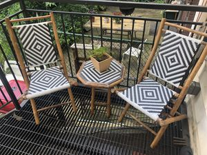 Bamboo/ wicker folding patio chairs with matching tables for Sale for sale  Brooklyn, NY