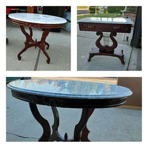 3 Antique marble Italian mohagany end tables for Sale in Tracy, CA