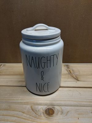 Rae Dunn naughty and nice canister for Sale in Belfair, WA