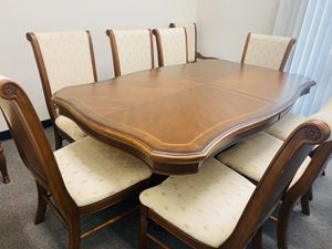 Like New Dining Table with extension and 10 Chairs for Sale in Ontario, CA