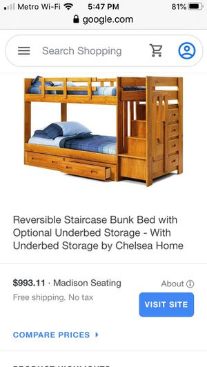 Wooden Bunk bed with drawers for Sale in District Heights, MD