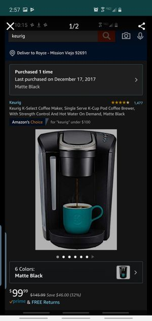 Used K select Keurig coffee maker (great deal) for Sale in Mission Viejo, CA