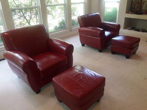 2 Red Matching leather chairs with 2 red ottomans for Sale in Florissant, US