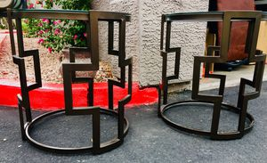 Set 2 Coffee / side table, metal decorated base, glass top H24xW21 inch for Sale in Chandler, AZ