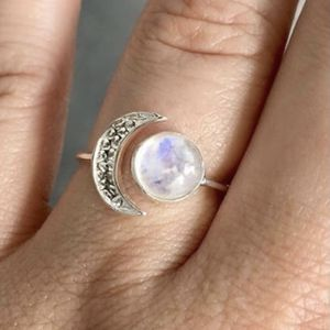 925 Silver Half Moon With Moonstone Ring for Sale in Carrollton, TX